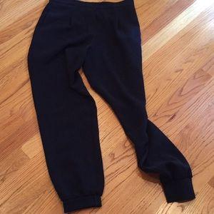 Rebecca Taylor navy viscose/cotton pants